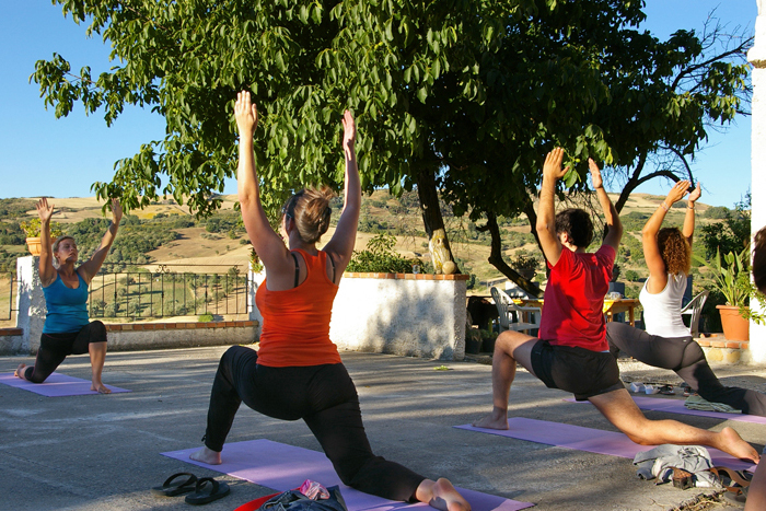 Yoga in Sicily at Pippa's Paddock - on the terrace